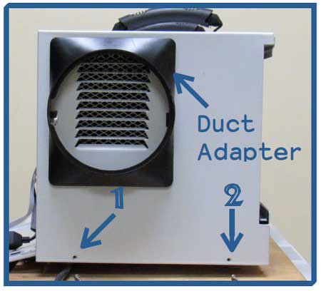 Remove 2 screws on duct adapter side of dehumidifier