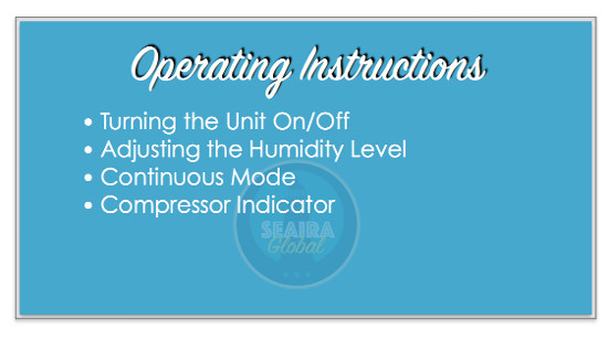 Dehumidifier operating instructions